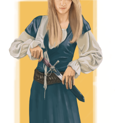 Here, a fair lassie: Almendra, smart and insurgent. She is Eliot´s childhood friend, and someone he can always lean on.