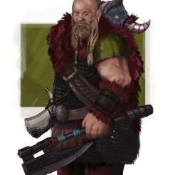 Goliat Gólfang is the leader of the savages tribe. He may be a bit illiterate, but he is certainly brave and strong, and would do anything for the good of his people.