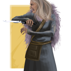 Mérari is the wicked one. Disguised as an Ázur, she is a ruthless fighter, using a pair of poisoned knives with amazing dexterity.